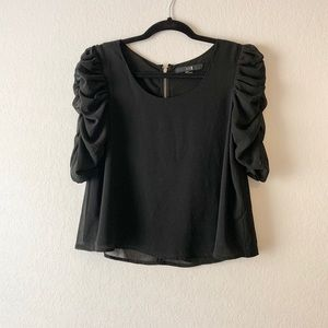 Forever 21 | Black Ruffle Sleeve Top